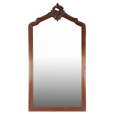 French Antique Carved Mahogany Beveled Mantel, Wall or Hall Mirror #29594