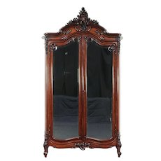 French Carved Rosewood Antique Armoire Wardrobe, Beveled Mirror Doors #29600