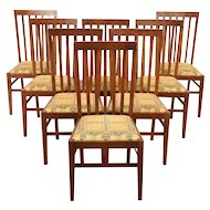 Set of 8 Oak Craftsman or Prairie Style Dining Chairs, New Upholstery #29603