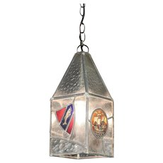 English Tudor Antique Leaded Stained Glass Hall Light Fixture #29607
