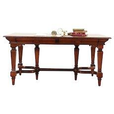 Partner Desk or Carved Antique 1900 Library Table #29608