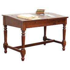 Victorian Antique Walnut Double School Desk for 2 Students #29612