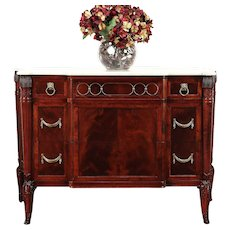 Regency Style Vintage Mahogany Linen Chest or Dresser, Marble Top #29614