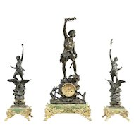 French Antique Mantel Clock Set, Onyx & Bronze, 3 Sculptures, Signed #29618