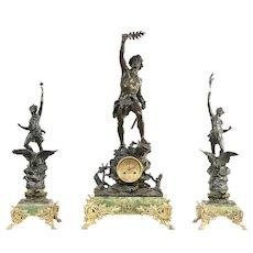 French Antique Mantel Clock Set, Onyx & Bronze, 3 Sculptures, Signed #29618