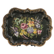 Tole Ware Hand Painted 1860 Antique Tin Tray #29624