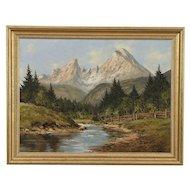 Alpine Mountain Scene, Signed Kurt Moser Original Vintage Oil Painting #29625