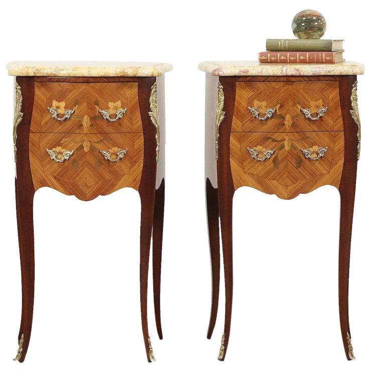 Pair Tulipwood Marquetry Italian Nightstands Or End Table, Marble Tops  #29631