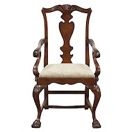 Georgian Style Vintage Carved Desk or Library Chair, New Upholstery #29637