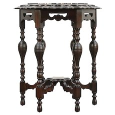 Hall Center or Antique Carved Lamp Table, Hexagonal Black Marble #29640