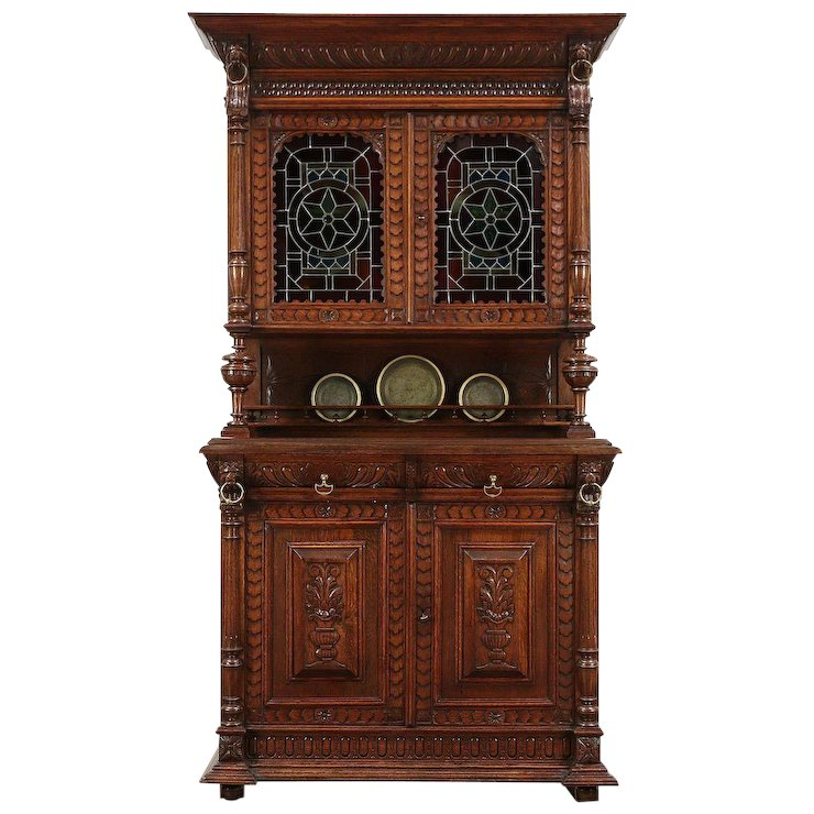 Oak Antique French Sideboard China Cabinet, Court Cupboard Stained : Harp  Gallery Antique Furniture   Ruby Lane - Oak Antique French Sideboard China Cabinet, Court Cupboard Stained