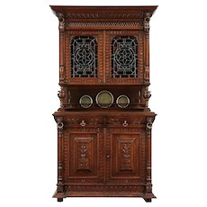 Oak Antique French Sideboard China Cabinet, Court Cupboard Stained Glass #29642