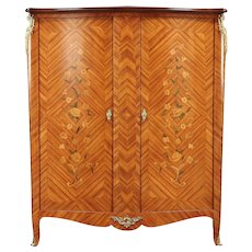 Tulipwood Marquetry Italian Vintage Armoire Or Wardrobe #29645. Harp  Gallery Antique Furniture