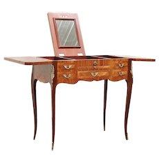 Tulipwood Marquetry Italian Vintage Vanity or Dressing Table, Mirror #29646