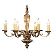 Bronze Antique 1915 Chandelier,  6 Beeswax Candles, Rewired #29649