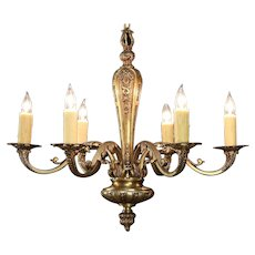 Bronze Antique 1915 Chandelier,  6 Beeswax Candles, Rewired #29649
