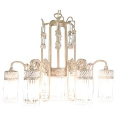 Art Deco Chandelier, 7 Light Bronze 1920's Antique Crystal Prism Shades #29651