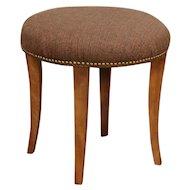 Midcentury Modern Round 1960 Vintage Stool, Vanity Bench, New Upholstery  #29658