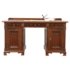 Oak Antique Victorian Gothic Scandinavian Library Desk, Leather Top #29661