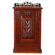 Victorian Antique Carved Fruitwood Coal Hod, Firewood Caddy  #29663
