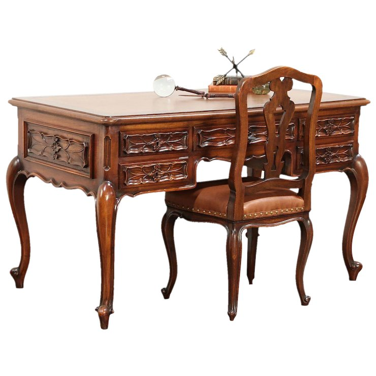 Walnut Antique Italian Piedmont Carved Library Desk & Leather Chair #29666 - Walnut Antique Italian Piedmont Carved Library Desk & Leather Chair