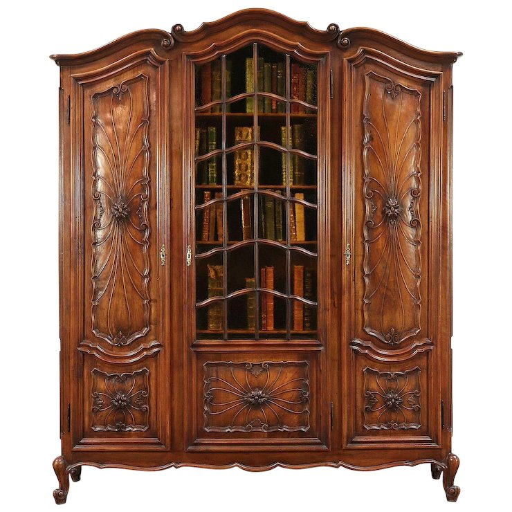 Walnut Antique Italian Piedmont Carved Library Bookcase, Stained Glass  #29667 - Walnut Antique Italian Piedmont Carved Library Bookcase, Stained