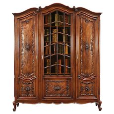 Walnut Antique Italian Piedmont Carved Library Bookcase, Stained Glass #29667
