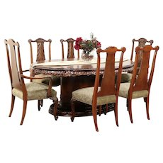 Romweber Louis XV Carved de Gaulle Dining Set, Table, 2 Leaves, 6 Chairs #29668