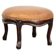 Victorian Antique Walnut Footstool, New Leather Upholstery  #29675