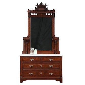 Victorian Eastlake Antique Walnut Chest or Dresser, Marble Top, Mirror #29679