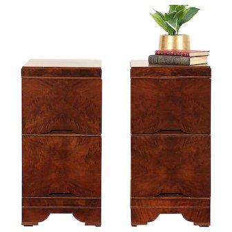 Pair Midcentury Modern Walnut & Burl 1960 Vintage Nightstands #29686