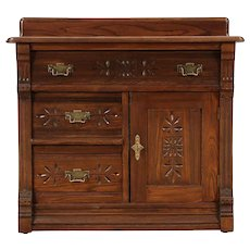 Victorian Eastlake Antique Oak & Ash Small Chest, Commode, Nightstand #29695