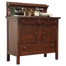 Oak Antique Craftsman Sideboard, Server or Buffet, Beveled Mirror #29698