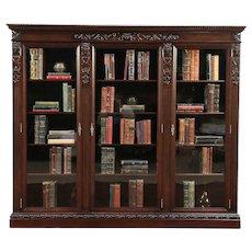 Triple Antique Mahogany Library Bookcase, Carved Gargoyles, Wavy Glass #29699