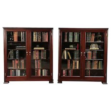 Pair Antique Mahogany Library Bookcases, Glass Doors, Adjustable Shelves #29701