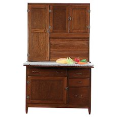 Oak Antique Hoosier Roll Top Cabinet Kitchen Pantry Cupboard #29703
