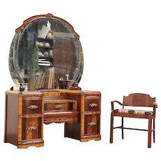 Art Deco Waterfall Vintage Vanity or Dressing Table, Mirror & Chair #29705