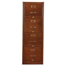 Oak Antique 4 Drawer Office or Library Filing or Music File Cabinet  #29711