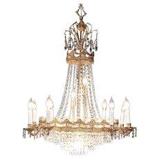 Regency Style Vintage 16 Light Bronze Chandelier, Strass Crystal Prisms #29715