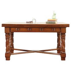 Dutch Oak Carved Antique Desk, Library or Dining Table, Pull Out Leaves #29716
