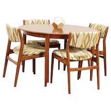 Midcentury Modern Danish Teak Dining Set, Table, 4 Chairs, Glostrup #29717