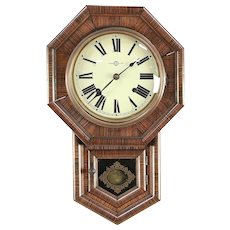Victorian Style Chinese Vintage Rosewood Grained Wall Clock #29720