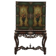 Renaissance Carved Antique Bar, China or Hall Cabinet, Hand Painted #29721