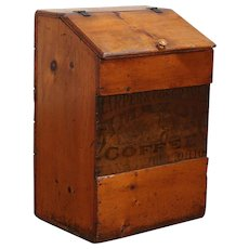 Amazon Coffee Antique Country Store Pine Bin, Signed Zanesville OH #29727