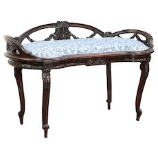 French Antique Bench, Carved Musical Motif, New Upholstery #29739