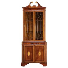 Georgian Style Vintage Corner Cabinet, Banded Mahogany & Marquetry #29740