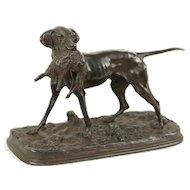 Hunting Dog & Rabbit, Antique French Bronze Sculpture Signed P. J. Mene  #29742