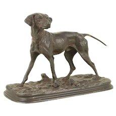 Hunting Dog Antique French Bronze Sculpture, Signed P. J. Mene #29743