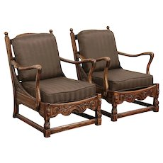 Pair English Tudor Carved Oak Club Chairs, Kittinger, New Upholstery #29750