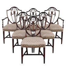 Set of 6 Vintage Shield Back Mahogany Dining Chairs, New Upholstery  #29752